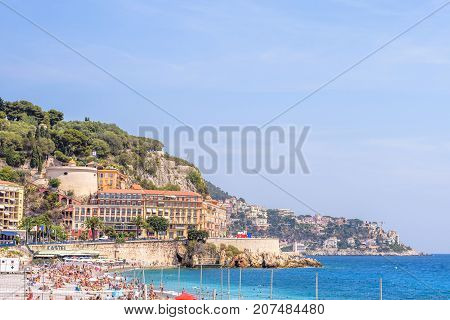 NICE COTE D'AZUR, FRANCE - JUNE 27,2017: Beautiful daylight view to blue sea, mountains and sky.