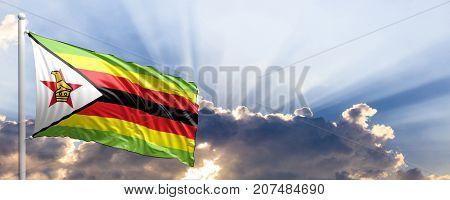 Zimbabwe waving flag on blue sky. 3d illustration