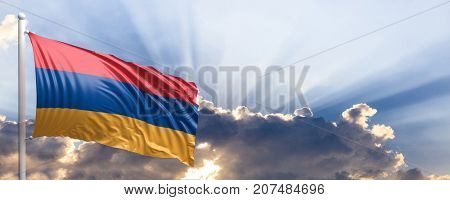 Armenia waving flag on blue sky. 3d illustration