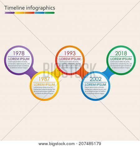 Timeline Infographics template with icons. 5 steps options or levels Timeline Infographic design elements. Colorful vector illustration.