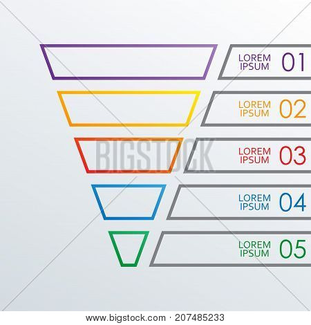 Funnel outline infographics template. 5 steps options or levels funnel. Marketing sales and business infographic design elements. Colorful vector illustration.