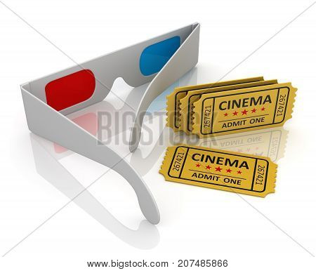 3D Glasses And Cinema Ticket