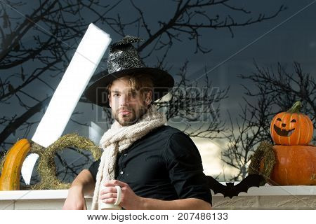 Halloween Man Wearing Witch Hat And Scarf
