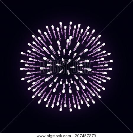 Firework Is Bursting With Sparkles On Dark Night Background. Realistic Holiday Purple Firework For D