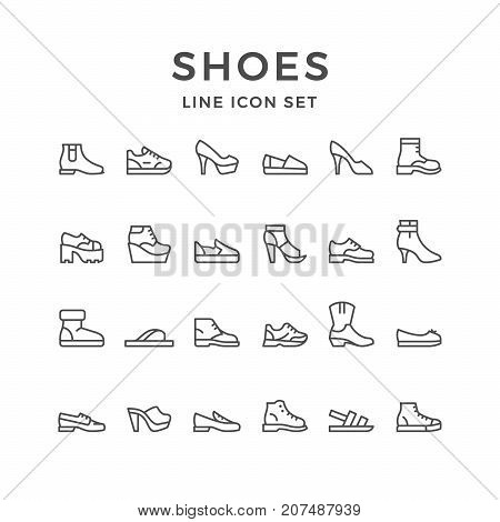 Set line icons of shoes isolated on white. Vector illustration