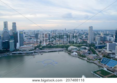 January 3 2017. Wide angle aerial view of the downtown core with famous landmarks such as the City Hall Esplanade and Fullerton hotel. Singapore. Travel and cityscapes editorial.