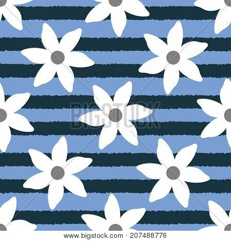 Colour floral seamless pattern. White flowers on uneven striped blue background. Endless vector illustration.