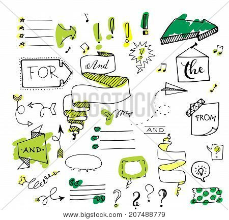 Vector hand drawn set on white background of objects:arrow, banner, word, list, brush, pen, figure, check mark.Collection of elements in doodle style.Isolated. Black outlines.Painted with highlighter.