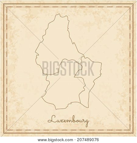 Luxembourg Region Map: Stilyzed Old Pirate Parchment Imitation. Detailed Map Of Luxembourg Regions.