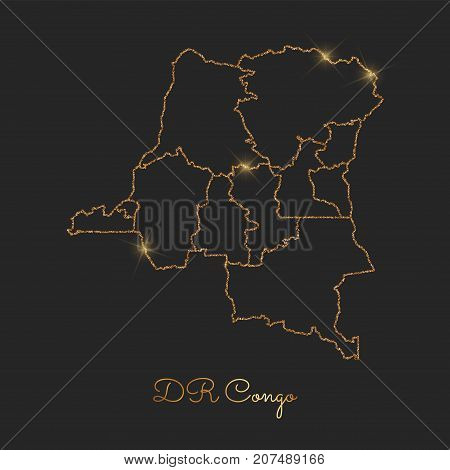 Dr Congo Region Map: Golden Glitter Outline With Sparkling Stars On Dark Background. Detailed Map Of