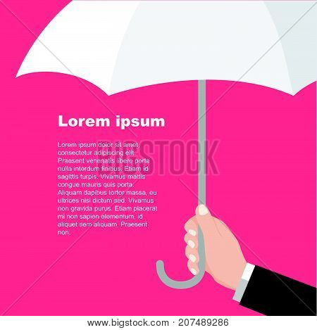 Businessmen holding white umbrella. Man's arm with umbrella. Protection flat style pattern concept-Vector flat design.