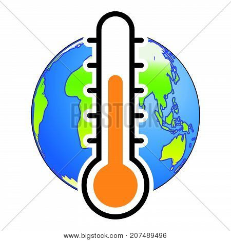 Global Warm concept. Thermometer with Earth globe lower level-Vector Illustration