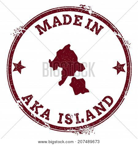 Aka Island Seal. Vintage Island Map Sticker. Grunge Rubber Stamp With Made In Text And Map Outline,