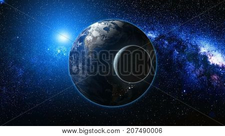Sunrise view from space on Planet Earth and Moon. World rotating on its axis among stars. High detailed 3D Render animation. Elements of this image furnished by NASA. Astronomy and science concept.