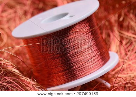 Inductor copper coil closeup with selective focus