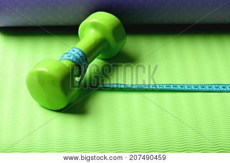 Shaping And Fitness Equipment. Dumbbell Made Of Green Plastic