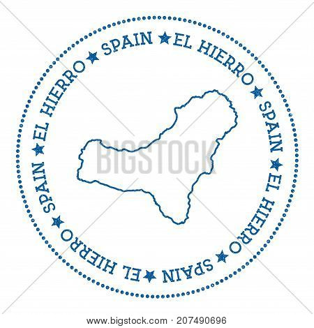 El Hierro Map Sticker. Hipster And Retro Style Badge. Minimalistic Insignia With Round Dots Border.