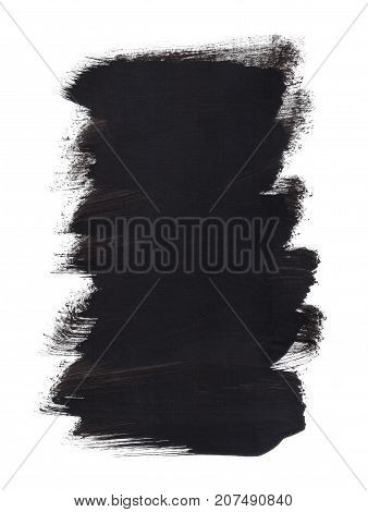 Black Background Painted Brush Strokes Rectangle Banner Isolated on White