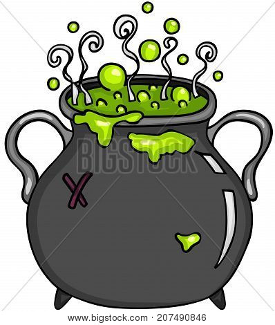 Scalable vectorial image representing a cauldron witches potion, isolated on white.