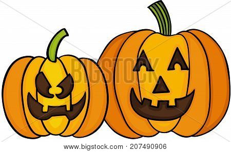 Scalable vectorial image representing a happy Halloween pumpkin, isolated on white.