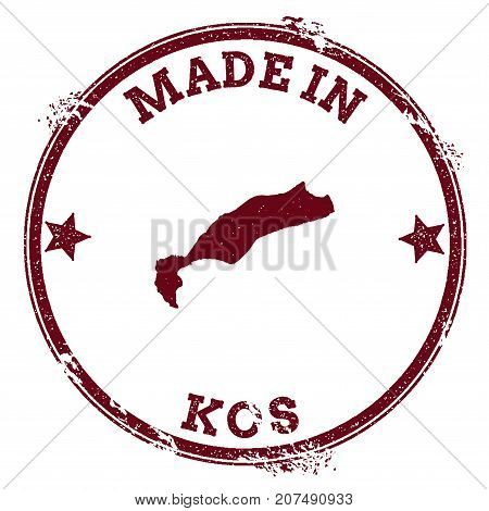 Kos Seal. Vintage Island Map Sticker. Grunge Rubber Stamp With Made In Text And Map Outline, Vector