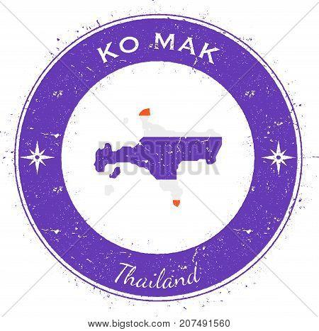 Ko Mak Circular Patriotic Badge. Grunge Rubber Stamp With Island Flag, Map And Name Written Along Ci