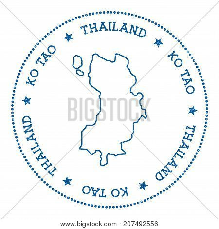 Ko Tao Map Sticker. Hipster And Retro Style Badge. Minimalistic Insignia With Round Dots Border. Isl