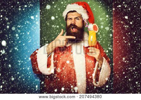 Funny Bearded Santa Claus Man