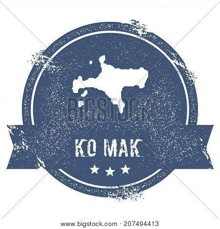 Ko Mak Logo Sign. Travel Rubber Stamp With The Name And Map Of Island, Vector Illustration. Can Be U
