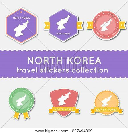 Korea, Democratic People's Republic Of Travel Stickers Collection. Big Set Of Stickers With Us State