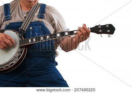a banjo playing man isolated on white background.