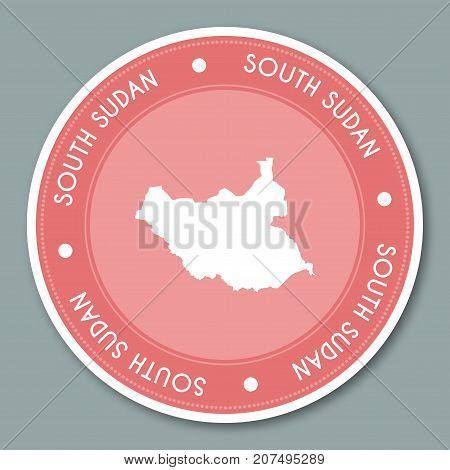South Sudan Label Flat Sticker Design. Patriotic Country Map Round Lable. Country Sticker Vector Ill