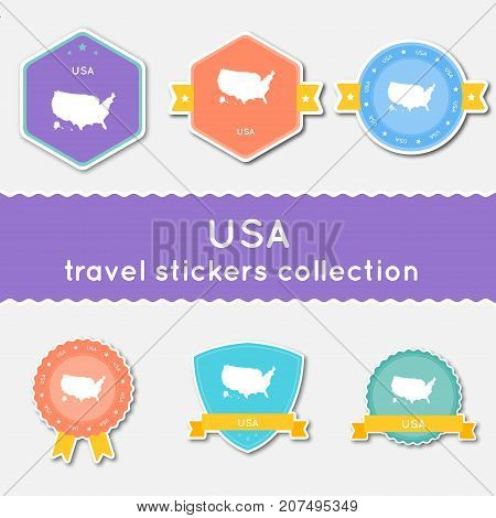 United States Travel Stickers Collection. Big Set Of Stickers With Country Map And Name. Flat Materi