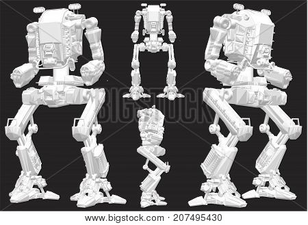 Battle Combat Robot Android Isolated Illustration Vector