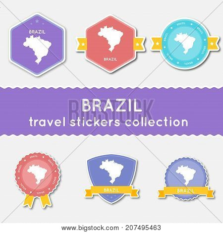 Brazil Travel Stickers Collection. Big Set Of Stickers With Country Map And Name. Flat Material Styl