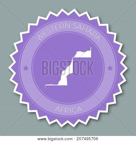 Western Sahara Badge Flat Design. Round Flat Style Sticker Of Trendy Colors With Country Map And Nam