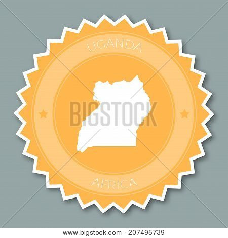 Uganda Badge Flat Design. Round Flat Style Sticker Of Trendy Colors With Country Map And Name. Count