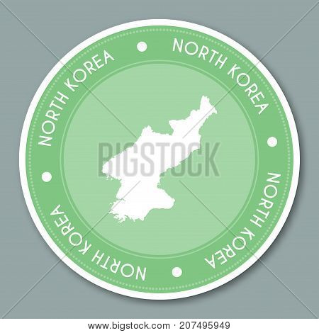 Korea, Democratic People's Republic Of Label Flat Sticker Design. Patriotic Country Map Round Lable.