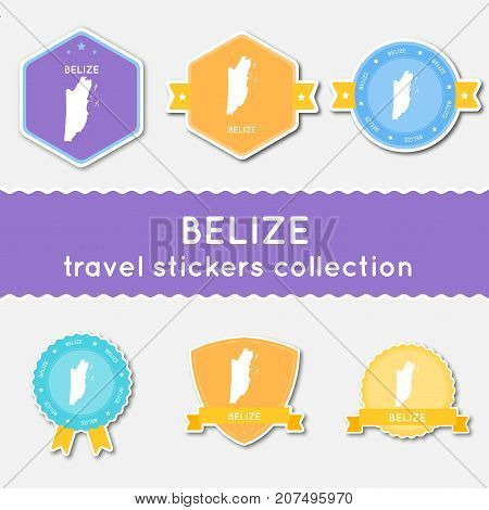 Belize Travel Stickers Collection. Big Set Of Stickers With Country Map And Name. Flat Material Styl