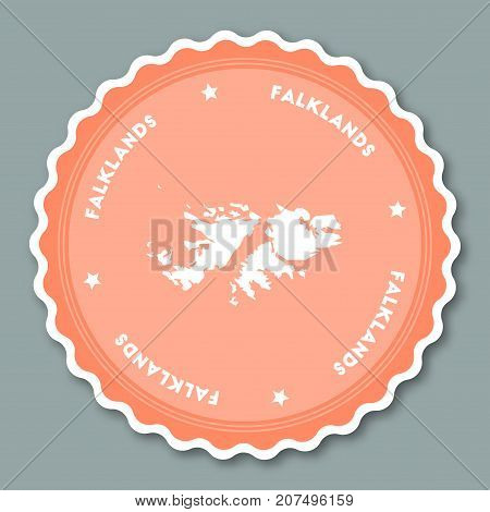 Falkland Islands Sticker Flat Design. Round Flat Style Badges Of Trendy Colors With Country Map And