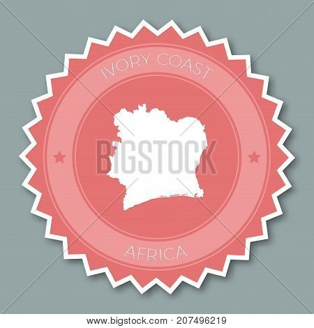 Cote D'ivoire Badge Flat Design. Round Flat Style Sticker Of Trendy Colors With Country Map And Name
