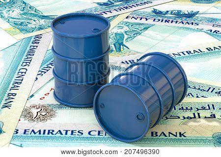3d illustration: Blue barrels of oil lie on background of banknote twenty dirhams, United Arab Emirates. Petroleum business, black gold, gasoline production. Purchase sale, auction, stock exchange.