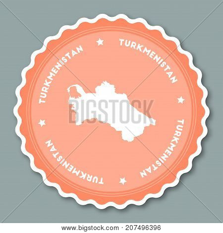Turkmenistan Sticker Flat Design. Round Flat Style Badges Of Trendy Colors With Country Map And Name