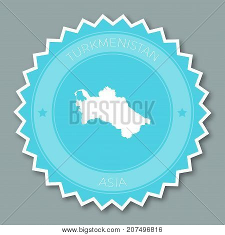 Turkmenistan Badge Flat Design. Round Flat Style Sticker Of Trendy Colors With Country Map And Name.
