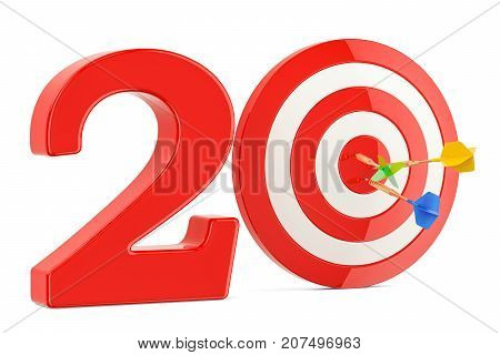 Target 20 success and achievement concept. 3D rendering isolated on white background