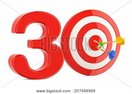 Target 30 success and achievement concept. 3D rendering isolated on white background