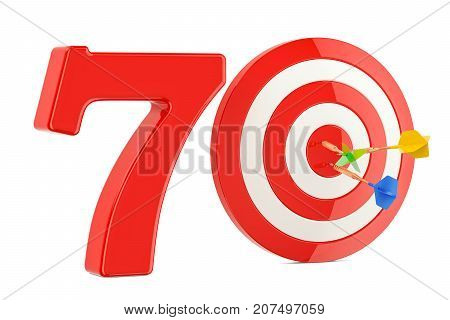 Target 70 success and achievement concept. 3D rendering isolated on white background
