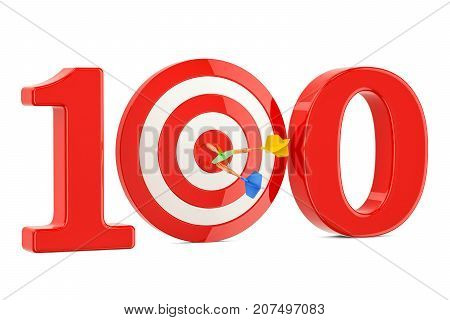 Target 100 success and achievement concept. 3D rendering isolated on white background