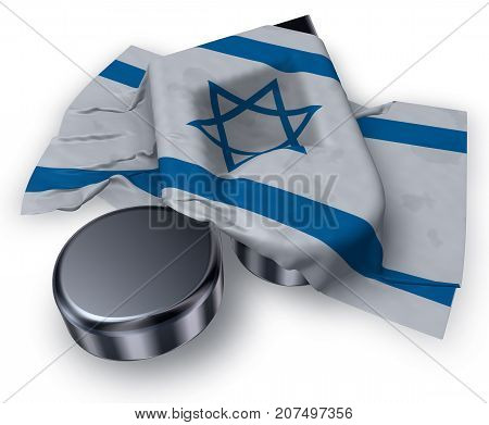 music note symbol symbol and flag of israel - 3d rendering