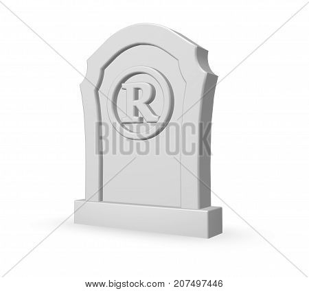 registered trademark symbol on gravestone - 3d illustration